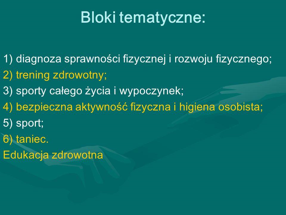 Bloki tematyczne: 1) diagnoza sprawności fizycznej i rozwoju fizycznego; 2) trening zdrowotny; 3) sporty całego życia i wypoczynek; 4) bezpieczna akty