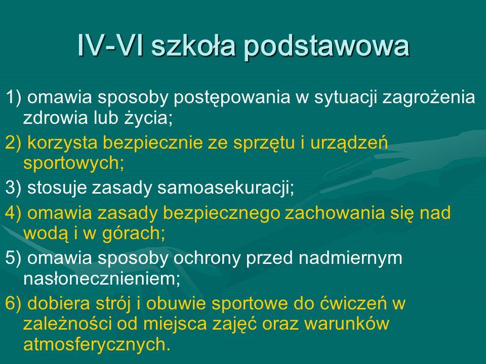 IV-VI szkoła podstawowa 1) omawia sposoby postępowania w sytuacji zagrożenia zdrowia lub życia; 2) korzysta bezpiecznie ze sprzętu i urządzeń sportowy
