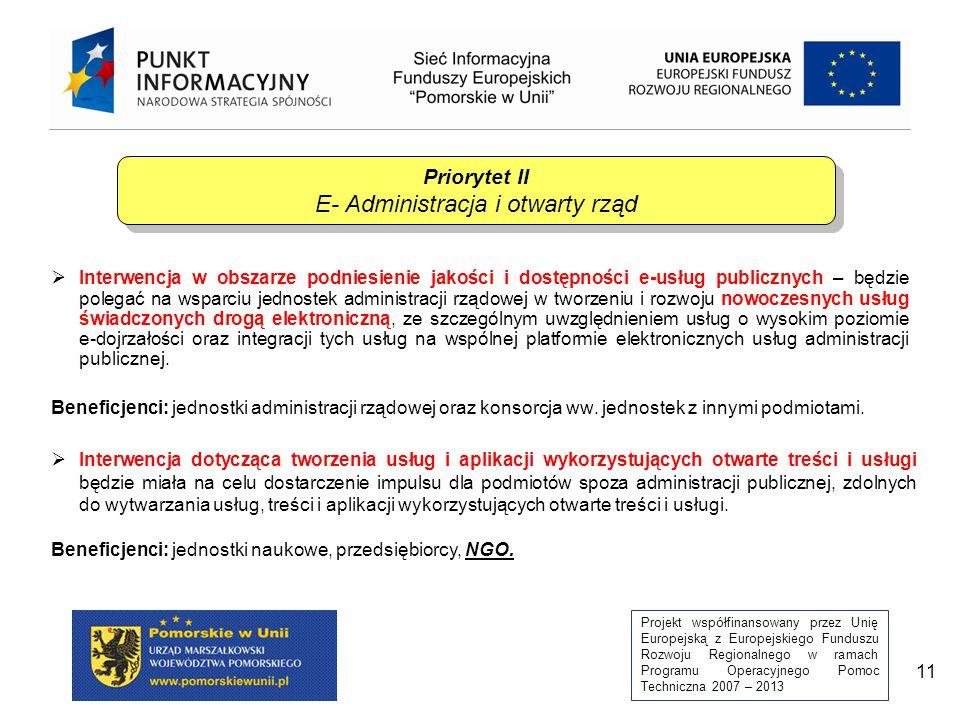 Projekt współfinansowany przez Unię Europejską z Europejskiego Funduszu Rozwoju Regionalnego w ramach Programu Operacyjnego Pomoc Techniczna 2007 – 2013 12  Podniesienie standardów instytucji administracji rządowej m.in.