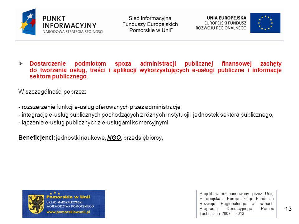 Projekt współfinansowany przez Unię Europejską z Europejskiego Funduszu Rozwoju Regionalnego w ramach Programu Operacyjnego Pomoc Techniczna 2007 – 2013 13  Dostarczenie podmiotom spoza administracji publicznej finansowej zachęty do tworzenia usług, treści i aplikacji wykorzystujących e-usługi publiczne i informacje sektora publicznego.