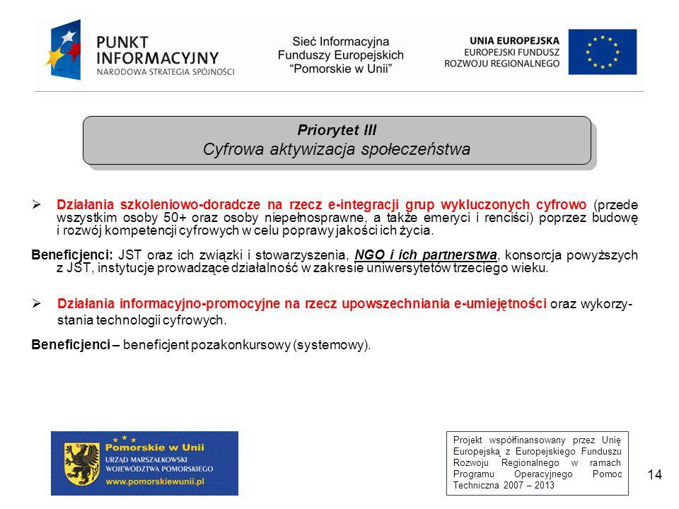Projekt współfinansowany przez Unię Europejską z Europejskiego Funduszu Rozwoju Regionalnego w ramach Programu Operacyjnego Pomoc Techniczna 2007 – 2013 15  E-pionier – promowanie zaawansowanych kompetencji cyfrowych poprzez konkurs i program dla zdolnych programistów, studentów kierunków z zakresu TIK.