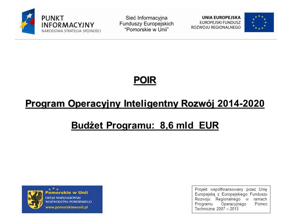 Projekt współfinansowany przez Unię Europejską z Europejskiego Funduszu Rozwoju Regionalnego w ramach Programu Operacyjnego Pomoc Techniczna 2007 – 2013 POIR Program Operacyjny Inteligentny Rozwój POIR Program Operacyjny Inteligentny Rozwój 2014-2020 Budżet Programu: 8,6 mld EUR
