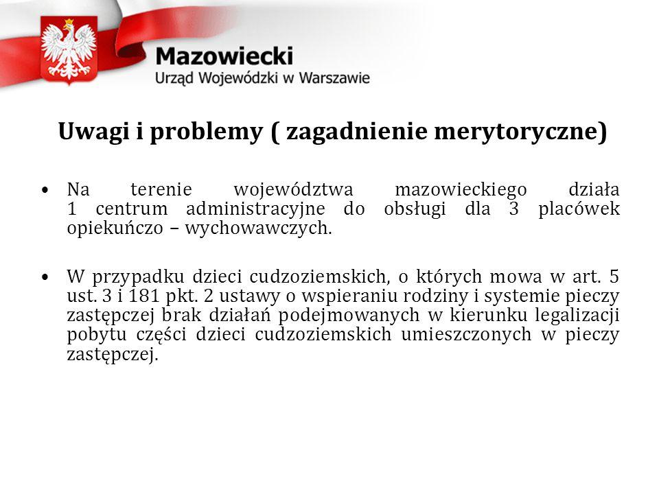 Uwagi i problemy ( zagadnienie merytoryczne) Na terenie województwa mazowieckiego działa 1 centrum administracyjne do obsługi dla 3 placówek opiekuńczo – wychowawczych.