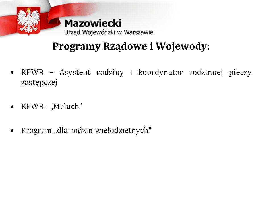 """Programy Rządowe i Wojewody: RPWR – Asystent rodziny i koordynator rodzinnej pieczy zastępczej RPWR - """"Maluch Program """"dla rodzin wielodzietnych"""