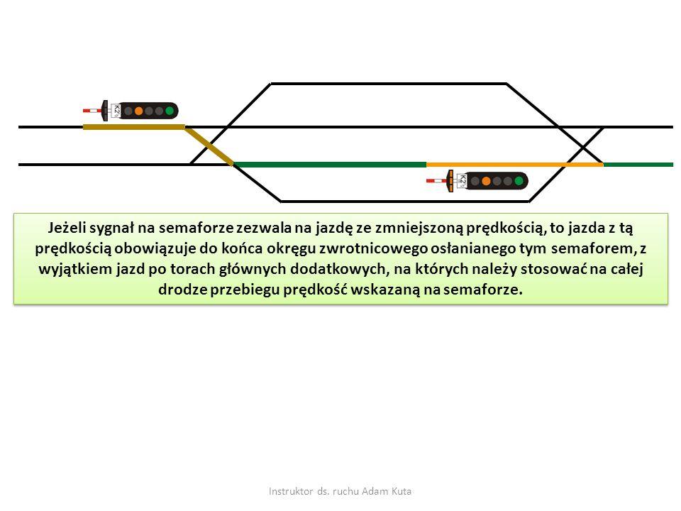 Instruktor ds. ruchu Adam Kuta Jeżeli sygnał na semaforze zezwala na jazdę ze zmniejszoną prędkością, to jazda z tą prędkością obowiązuje do końca okr