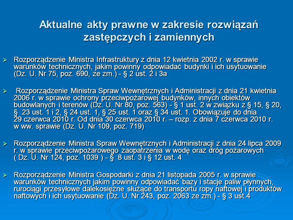 Aktualne akty prawne w zakresie rozwiązań zastępczych i zamiennych  Rozporządzenie Ministra Infrastruktury z dnia 12 kwietnia 2002 r. w sprawie warun