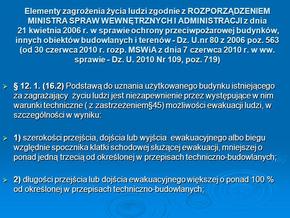 Elementy zagrożenia życia ludzi zgodnie z ROZPORZĄDZENIEM MINISTRA SPRAW WEWNĘTRZNYCH I ADMINISTRACJI z dnia 21 kwietnia 2006 r. w sprawie ochrony prz