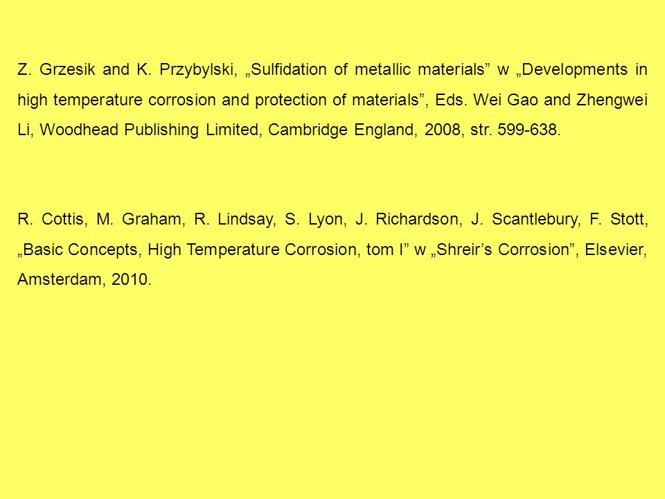 "Z. Grzesik and K. Przybylski, ""Sulfidation of metallic materials"" w ""Developments in high temperature corrosion and protection of materials"", Eds. Wei"