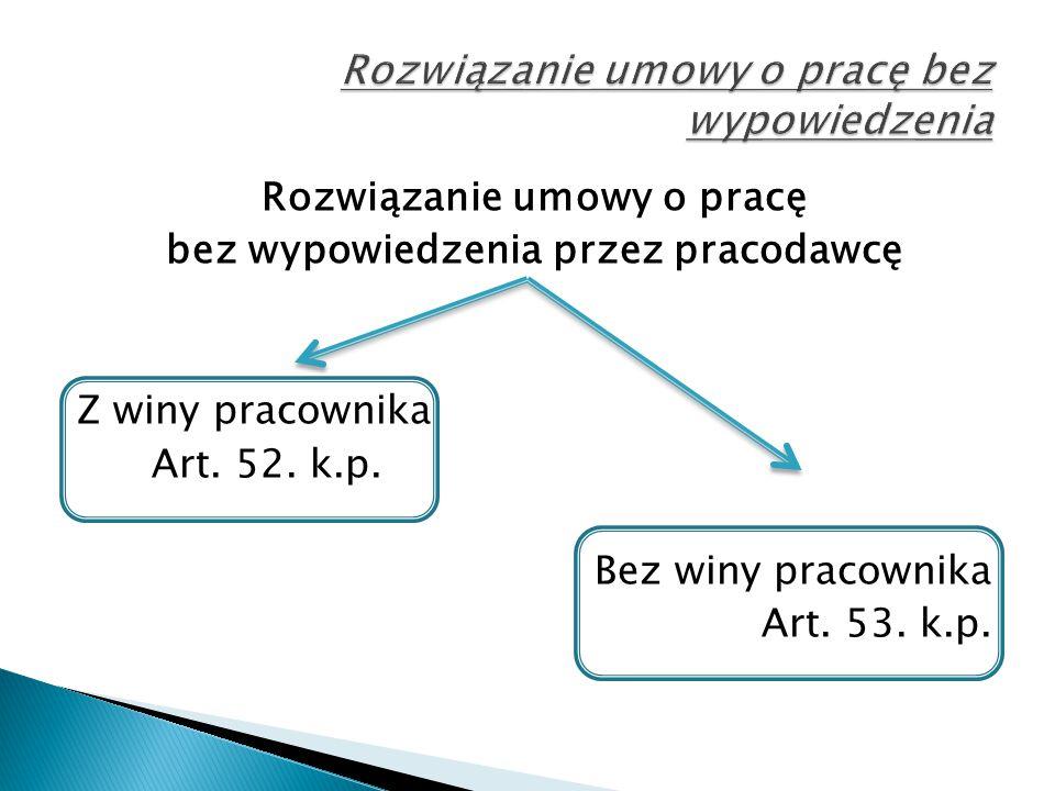 Rozwiązanie umowy o pracę bez wypowiedzenia przez pracodawcę Z winy pracownika Art. 52. k.p. Bez winy pracownika Art. 53. k.p.