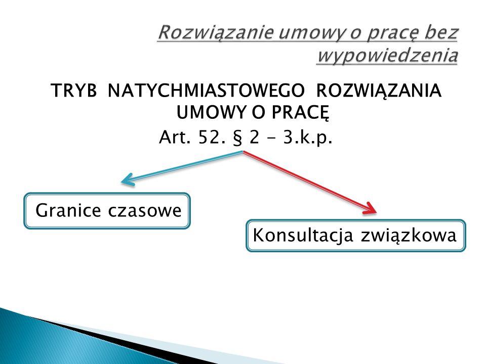 TRYB NATYCHMIASTOWEGO ROZWIĄZANIA UMOWY O PRACĘ Art. 52. § 2 - 3.k.p. Granice czasowe Konsultacja związkowa