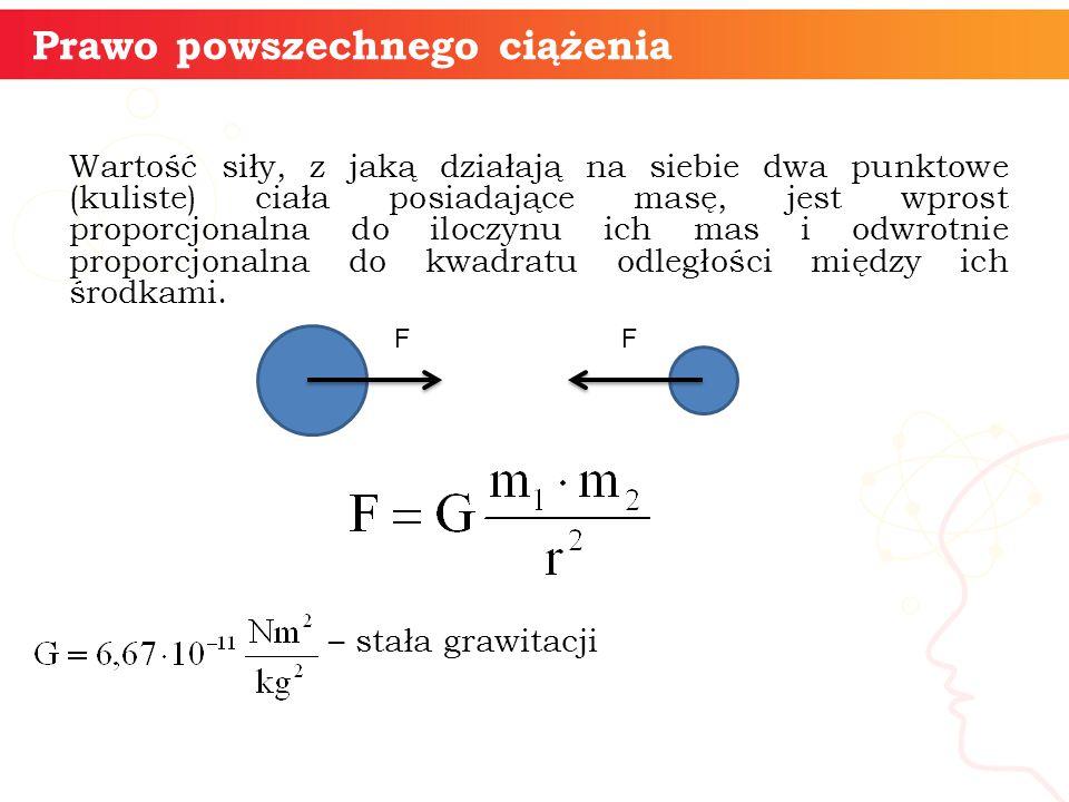Wartość siły, z jaką działają na siebie dwa punktowe (kuliste) ciała posiadające masę, jest wprost proporcjonalna do iloczynu ich mas i odwrotnie prop