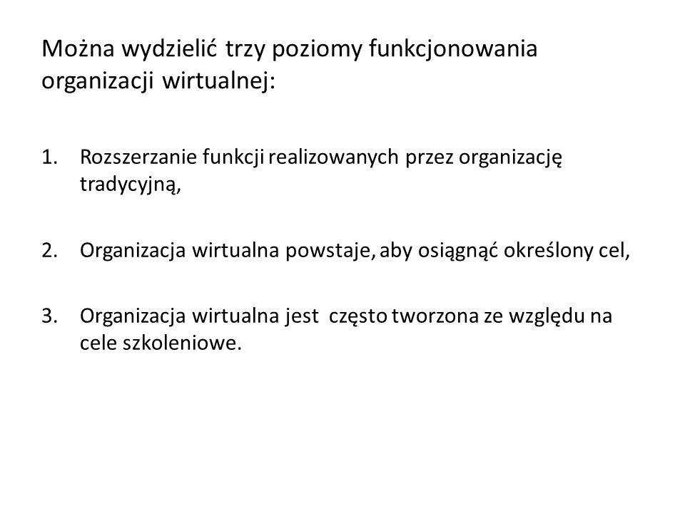 Można wydzielić trzy poziomy funkcjonowania organizacji wirtualnej: 1.Rozszerzanie funkcji realizowanych przez organizację tradycyjną, 2.Organizacja w