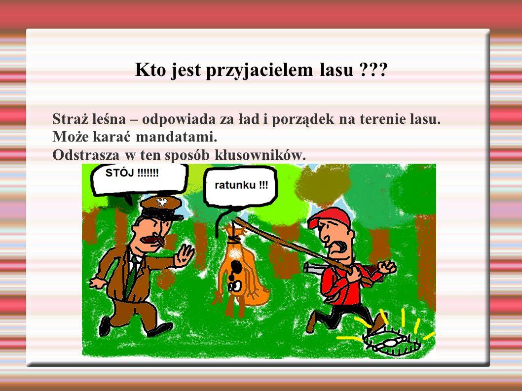 Kto jest przyjacielem lasu ??? Straż leśna – odpowiada za ład i porządek na terenie lasu. Może karać mandatami. Odstrasza w ten sposób kłusowników.