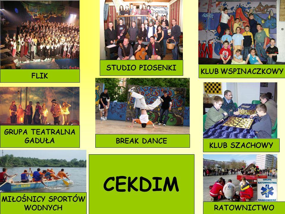 FLIK GRUPA TEATRALNA GADUŁA STUDIO PIOSENKI BREAK DANCE KLUB WSPINACZKOWY KLUB SZACHOWY RATOWNICTWO MIŁOŚNICY SPORTÓW WODNYCH CEKDIM