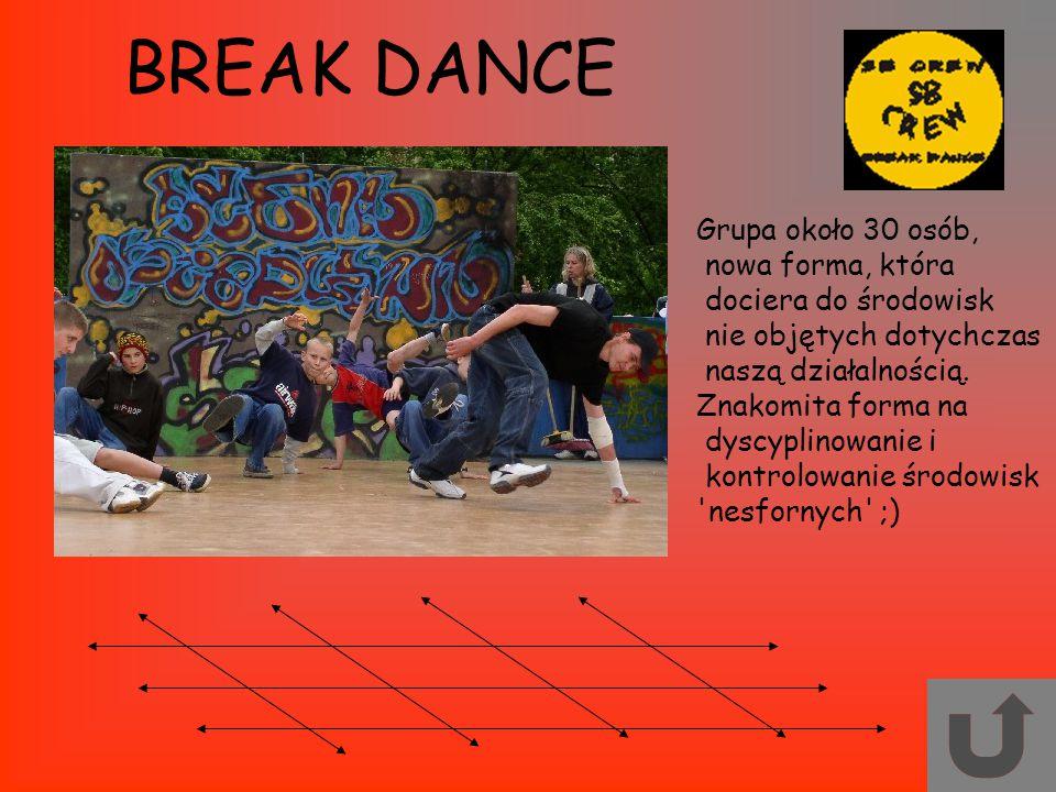 BREAK DANCE Grupa około 30 osób, nowa forma, która dociera do środowisk nie objętych dotychczas naszą działalnością. Znakomita forma na dyscyplinowani