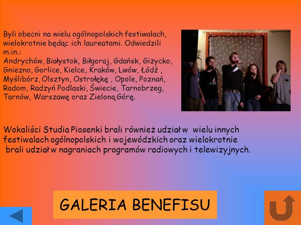 GALERIA BENEFISU Byli obecni na wielu ogólnopolskich festiwalach, wielokrotnie będąc ich laureatami. Odwiedzili m.in.: Andrychów, Białystok, Biłgoraj,