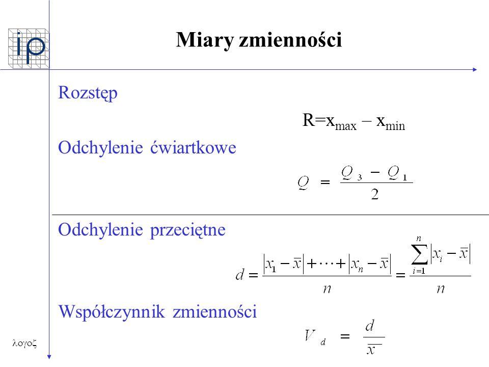  Miary zmienności Rozstęp R=x max – x min Odchylenie ćwiartkowe Odchylenie przeciętne Współczynnik zmienności