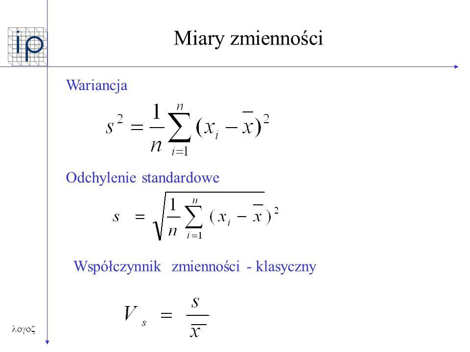  Miary zmienności Wariancja Odchylenie standardowe Współczynnik zmienności - klasyczny