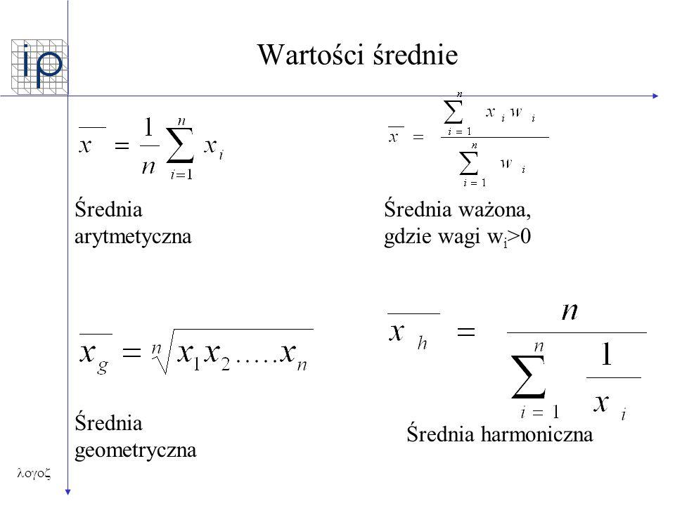  Wartości średnie Średnia arytmetyczna Średnia ważona, gdzie wagi w i >0 Średnia geometryczna Średnia harmoniczna