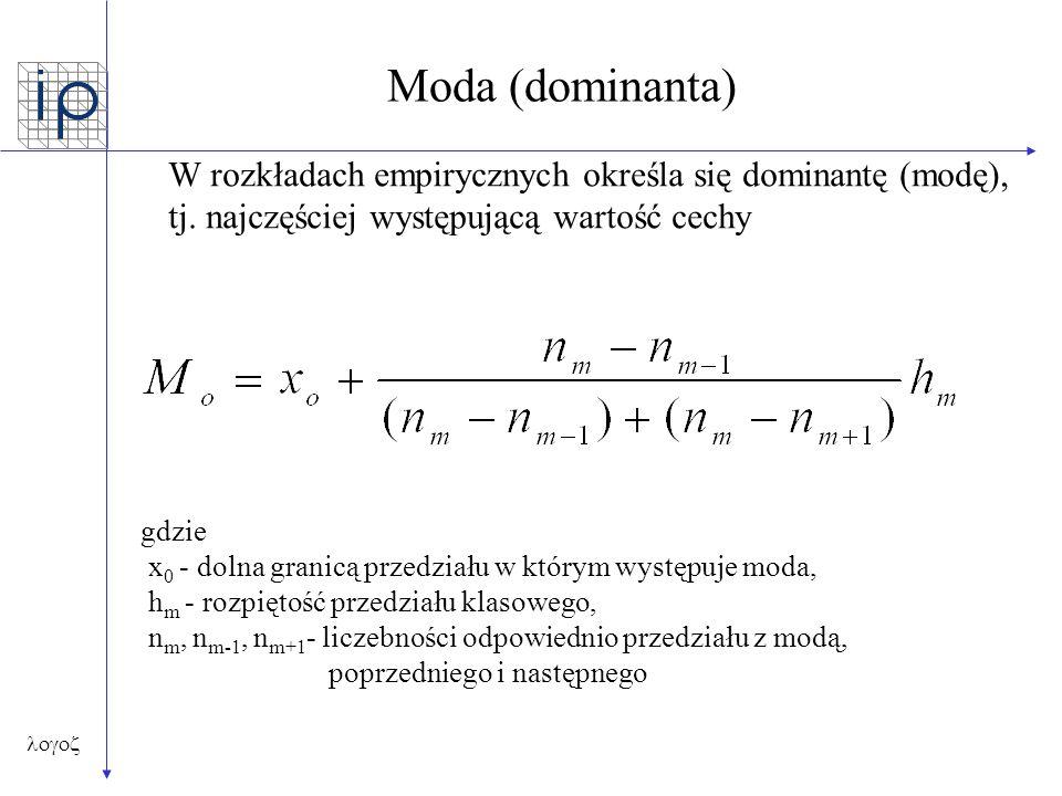  Moda (dominanta) W rozkładach empirycznych określa się dominantę (modę), tj. najczęściej występującą wartość cechy gdzie x 0 - dolna granicą prze