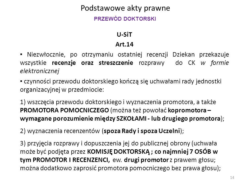 Podstawowe akty prawne U-SiT Art.14 ▪ Niezwłocznie, po otrzymaniu ostatniej recenzji Dziekan przekazuje wszystkie recenzje oraz streszczenie rozprawy