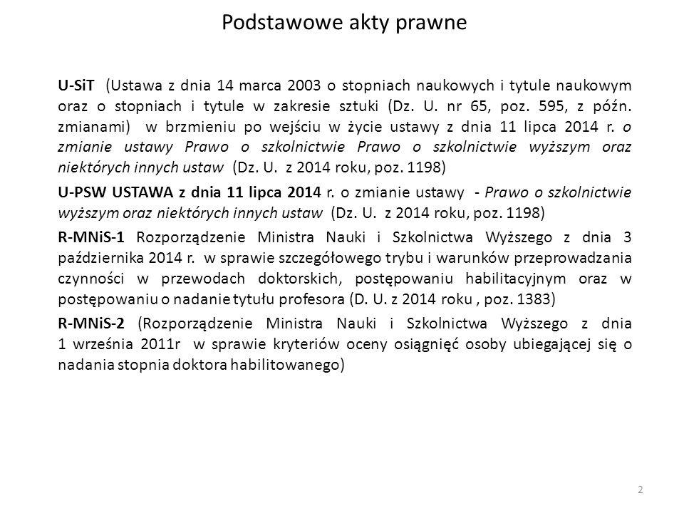 Podstawowe akty prawne U-SiT (Ustawa z dnia 14 marca 2003 o stopniach naukowych i tytule naukowym oraz o stopniach i tytule w zakresie sztuki (Dz. U.