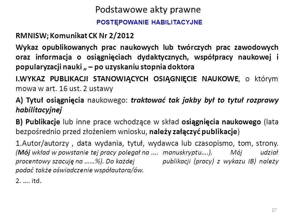 Podstawowe akty prawne RMNISW; Komunikat CK Nr 2/2012 Wykaz opublikowanych prac naukowych lub twórczych prac zawodowych oraz informacja o osiągnięciac