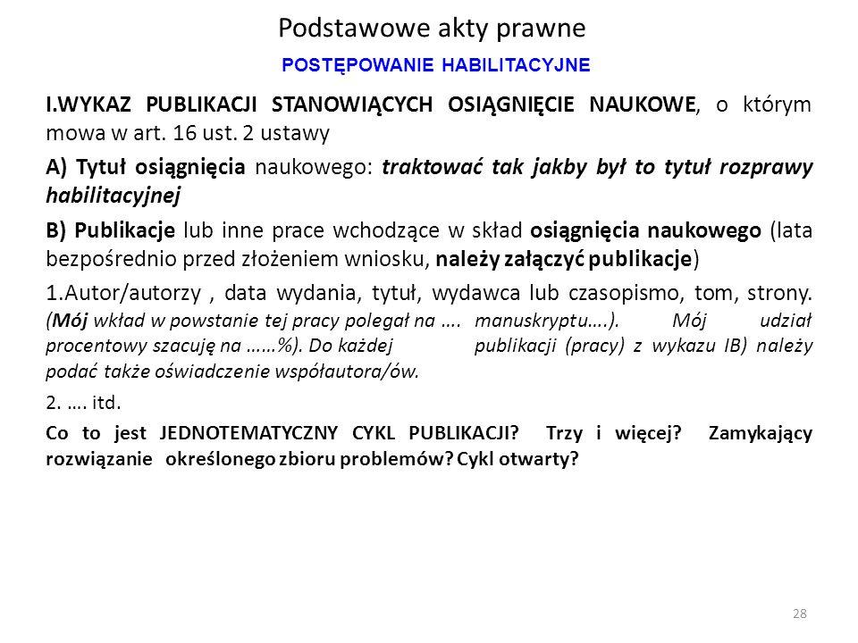 Podstawowe akty prawne I.WYKAZ PUBLIKACJI STANOWIĄCYCH OSIĄGNIĘCIE NAUKOWE, o którym mowa w art. 16 ust. 2 ustawy A) Tytuł osiągnięcia naukowego: trak