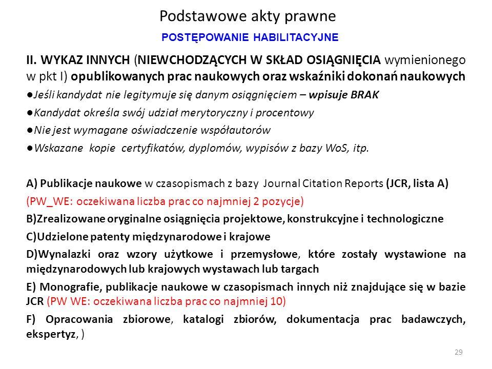Podstawowe akty prawne II. WYKAZ INNYCH (NIEWCHODZĄCYCH W SKŁAD OSIĄGNIĘCIA wymienionego w pkt I) opublikowanych prac naukowych oraz wskaźniki dokonań