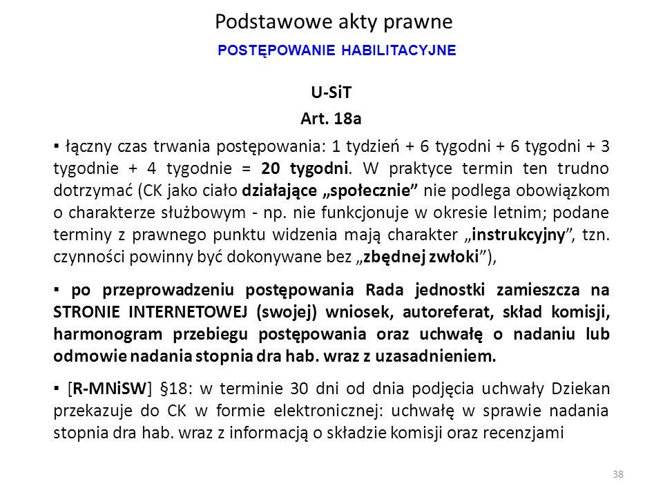 Podstawowe akty prawne U-SiT Art. 18a ▪ łączny czas trwania postępowania: 1 tydzień + 6 tygodni + 6 tygodni + 3 tygodnie + 4 tygodnie = 20 tygodni. W