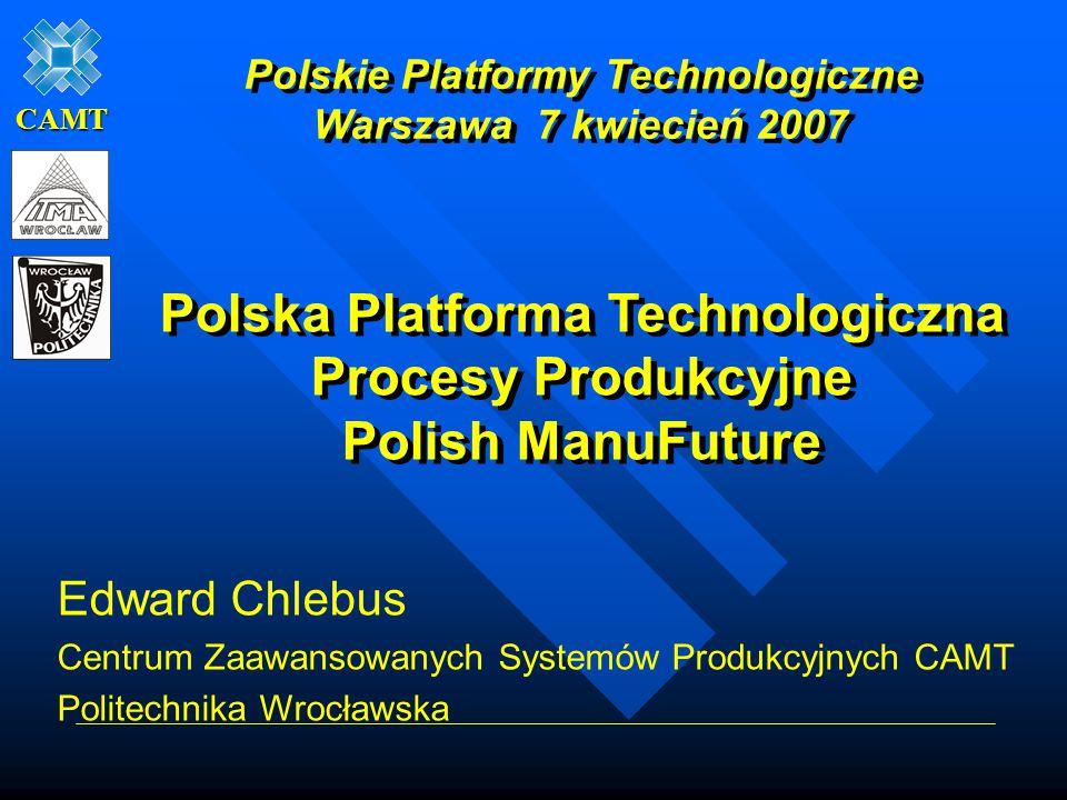 CAMT Edward Chlebus Centrum Zaawansowanych Systemów Produkcyjnych CAMT Politechnika Wrocławska Polska Platforma Technologiczna Procesy Produkcyjne Pol