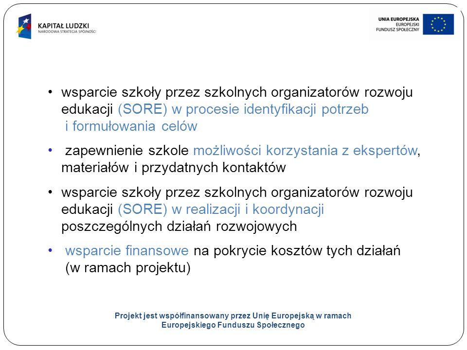 13 Projekt jest współfinansowany przez Unię Europejską w ramach Europejskiego Funduszu Społecznego wsparcie szkoły przez szkolnych organizatorów rozwoju edukacji (SORE) w procesie identyfikacji potrzeb i formułowania celów zapewnienie szkole możliwości korzystania z ekspertów, materiałów i przydatnych kontaktów wsparcie szkoły przez szkolnych organizatorów rozwoju edukacji (SORE) w realizacji i koordynacji poszczególnych działań rozwojowych wsparcie finansowe na pokrycie kosztów tych działań (w ramach projektu)