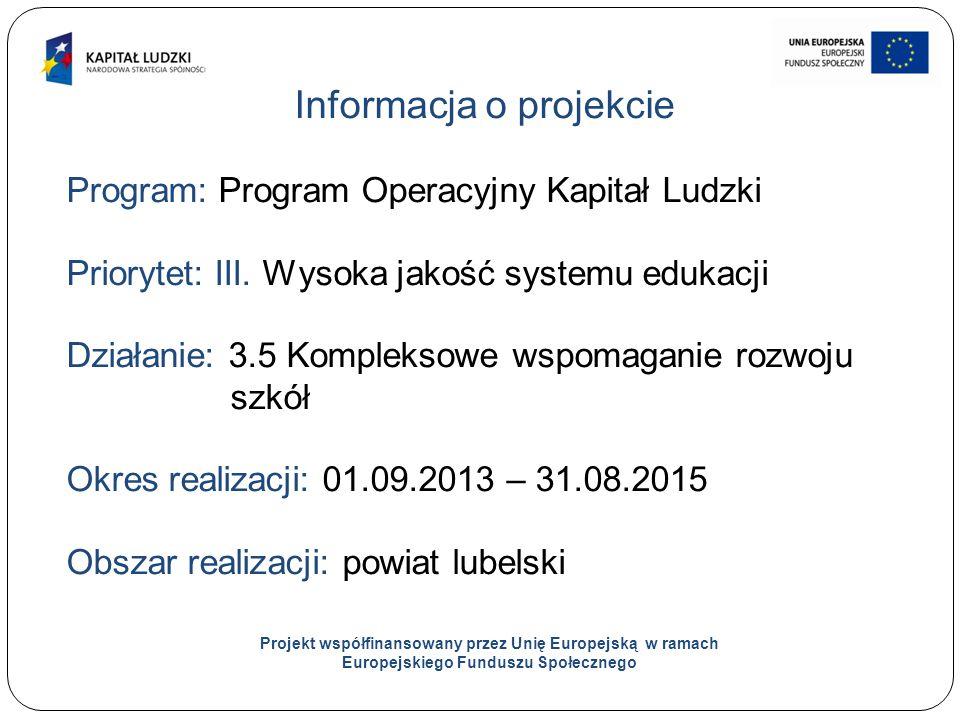 2 Informacja o projekcie Program: Program Operacyjny Kapitał Ludzki Priorytet: III.