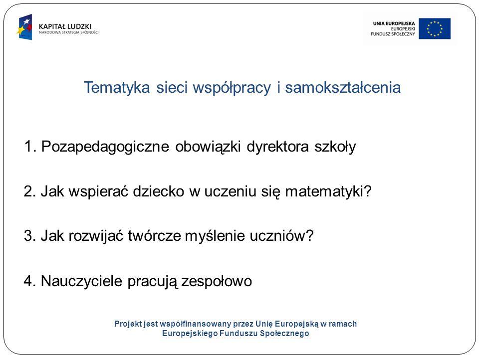 9 Tematyka sieci współpracy i samokształcenia 1. Pozapedagogiczne obowiązki dyrektora szkoły 2.