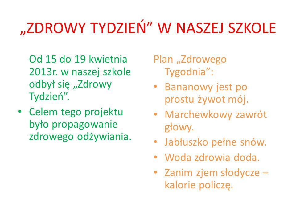 """""""ZDROWY TYDZIEŃ W NASZEJ SZKOLE Od 15 do 19 kwietnia 2013r."""
