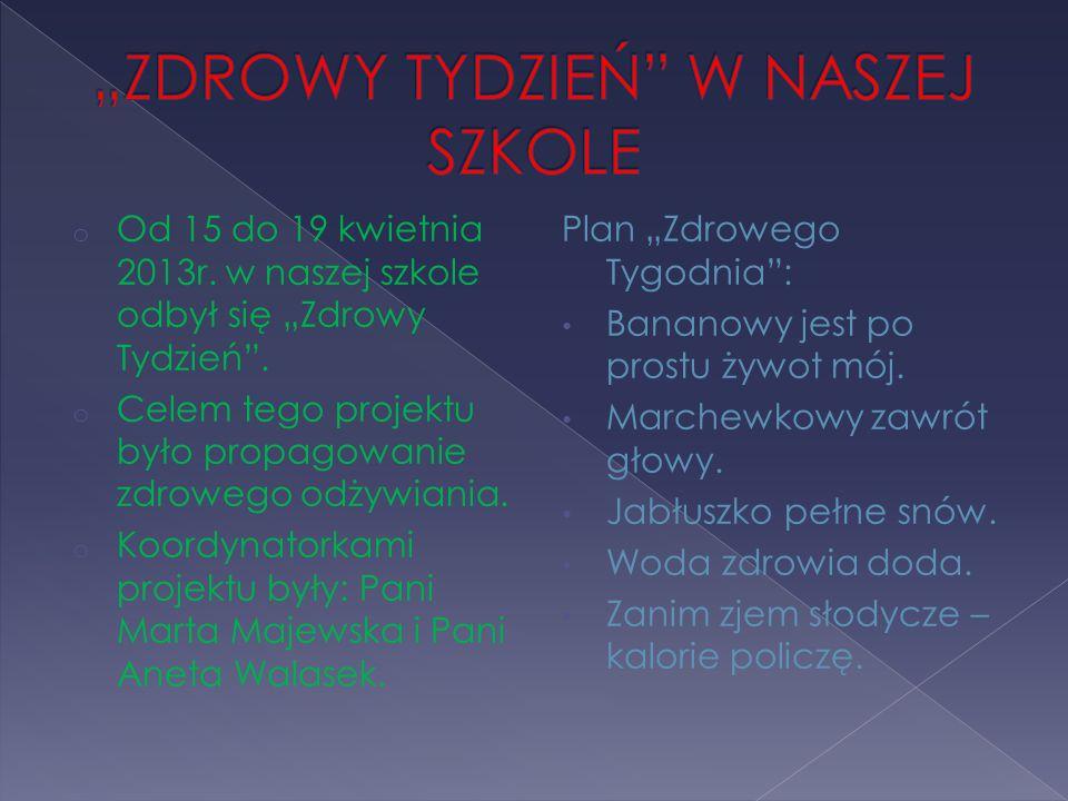 """o Od 15 do 19 kwietnia 2013r. w naszej szkole odbył się """"Zdrowy Tydzień ."""