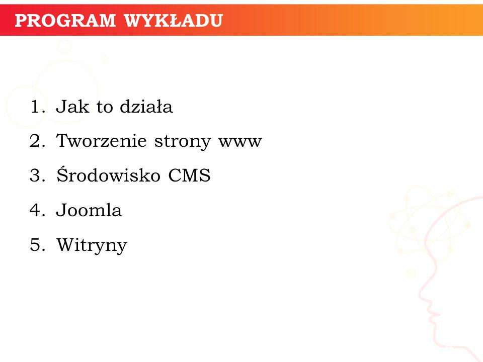 PROGRAM WYKŁADU 1.Jak to działa 2.Tworzenie strony www 3.Środowisko CMS 4.Joomla 5.Witryny informatyka + 4