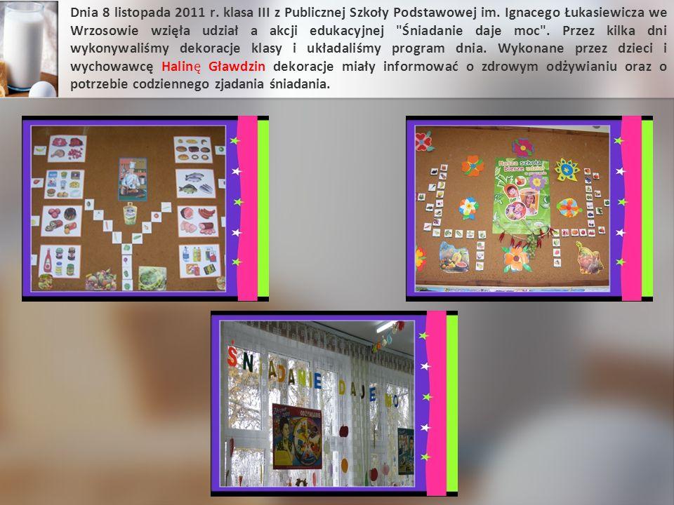 Dnia 8 listopada 2011 r. klasa III z Publicznej Szkoły Podstawowej im. Ignacego Łukasiewicza we Wrzosowie wzięła udział a akcji edukacyjnej