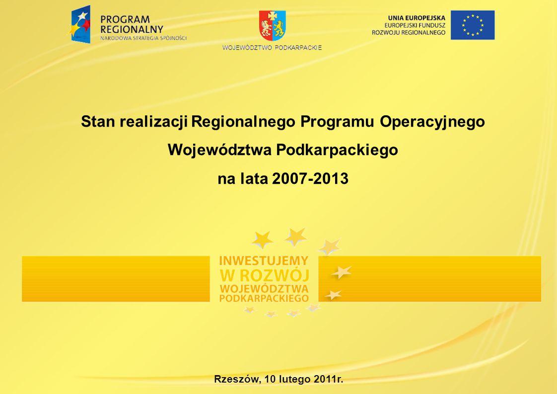 Stan realizacji Regionalnego Programu Operacyjnego Województwa Podkarpackiego na lata 2007-2013 Rzeszów, 10 lutego 2011r.