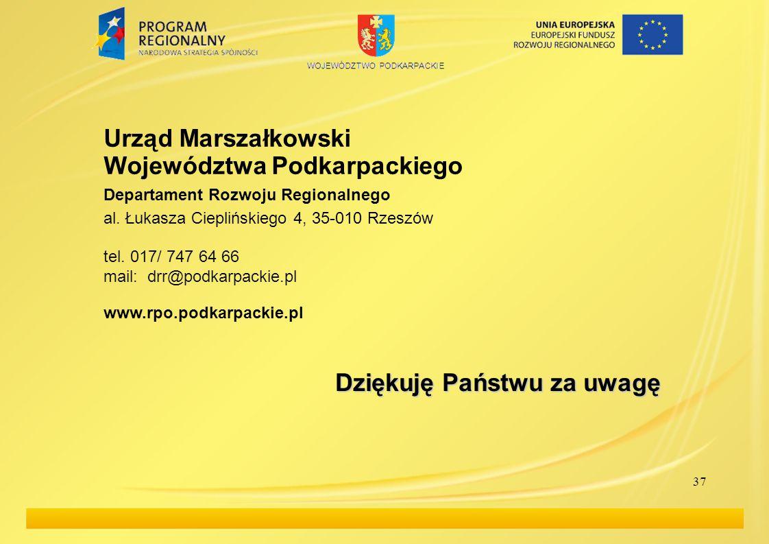 Urząd Marszałkowski Województwa Podkarpackiego Departament Rozwoju Regionalnego al.