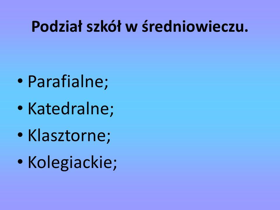 Podział szkół w średniowieczu. Parafialne; Katedralne; Klasztorne; Kolegiackie;
