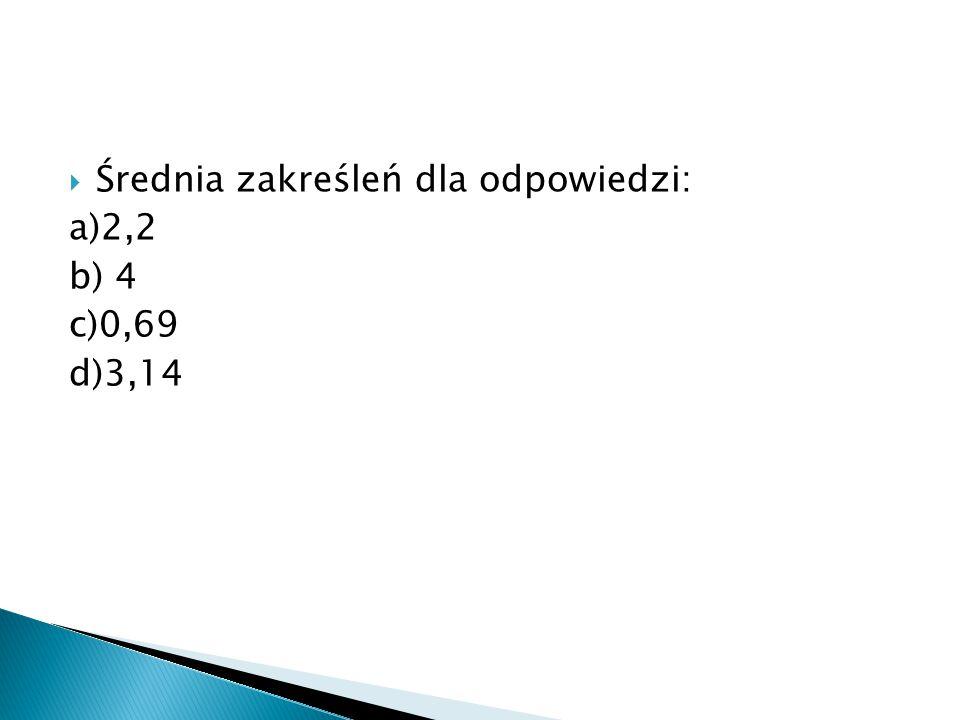  Średnia zakreśleń dla odpowiedzi: a)2,2 b) 4 c)0,69 d)3,14