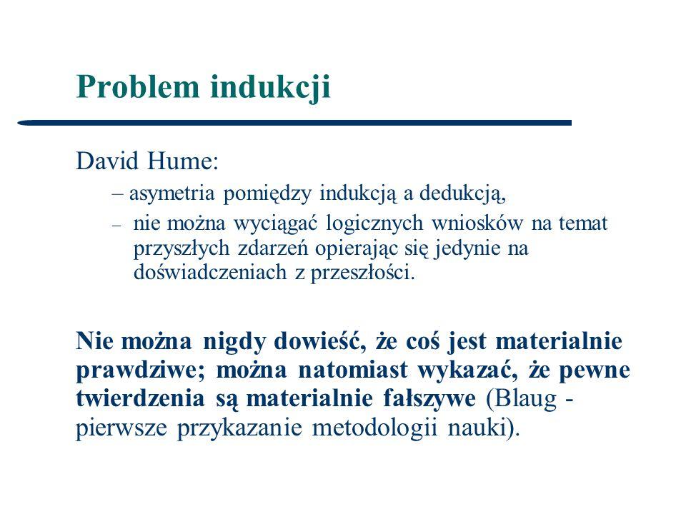 Problem indukcji David Hume: – asymetria pomiędzy indukcją a dedukcją, – nie można wyciągać logicznych wniosków na temat przyszłych zdarzeń opierając się jedynie na doświadczeniach z przeszłości.