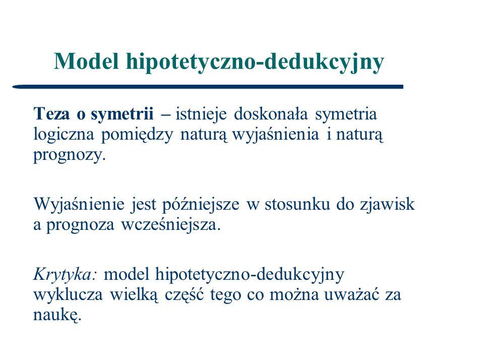 Model hipotetyczno-dedukcyjny Teza o symetrii – istnieje doskonała symetria logiczna pomiędzy naturą wyjaśnienia i naturą prognozy.