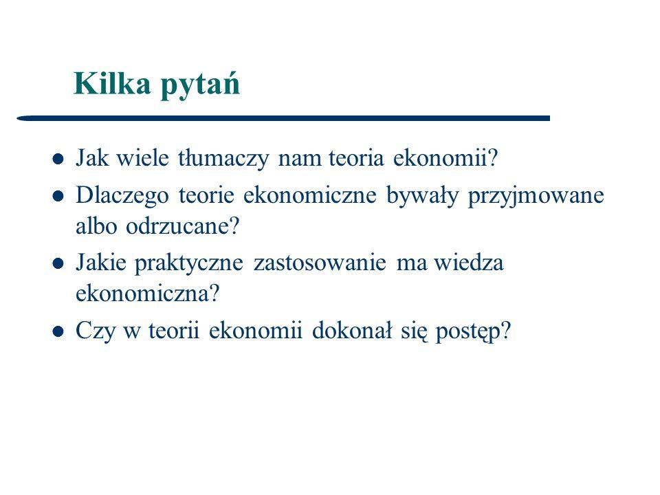 Kilka pytań Jak wiele tłumaczy nam teoria ekonomii.