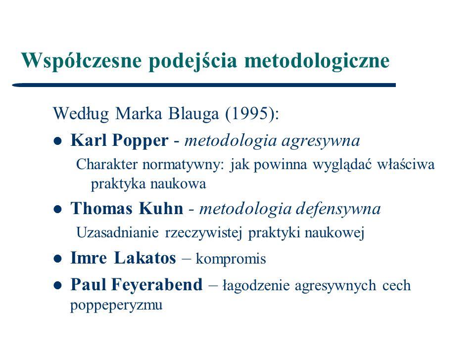 Współczesne podejścia metodologiczne Według Marka Blauga (1995): Karl Popper - metodologia agresywna Charakter normatywny: jak powinna wyglądać właściwa praktyka naukowa Thomas Kuhn - metodologia defensywna Uzasadnianie rzeczywistej praktyki naukowej Imre Lakatos – kompromis Paul Feyerabend – łagodzenie agresywnych cech poppeperyzmu
