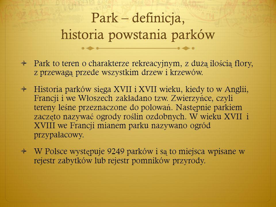 Park – definicja, historia powstania parków  Park to teren o charakterze rekreacyjnym, z du żą ilo ś ci ą flory, z przewag ą przede wszystkim drzew i