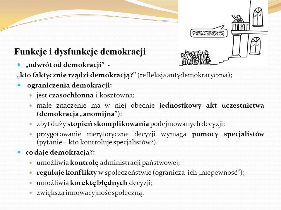 """Funkcje i dysfunkcje demokracji """"odwrót od demokracji"""" - """"kto faktycznie rządzi demokracją?"""" (refleksja antydemokratyczna); ograniczenia demokracji: j"""