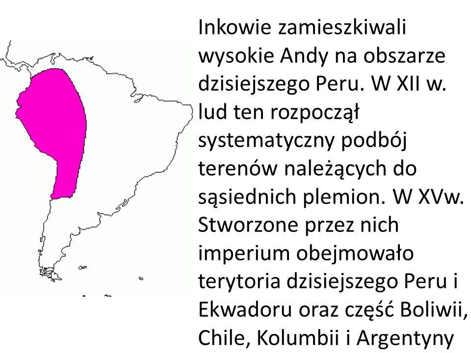 Inkowie zamieszkiwali wysokie Andy na obszarze dzisiejszego Peru. W XII w. lud ten rozpoczął systematyczny podbój terenów należących do sąsiednich ple