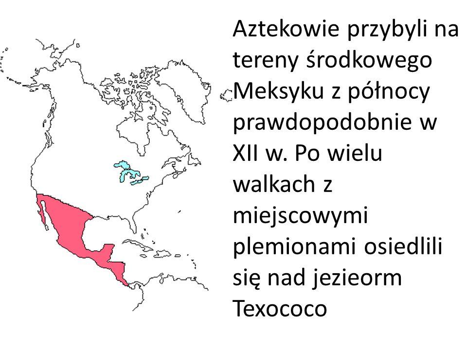 Aztekowie przybyli na tereny środkowego Meksyku z północy prawdopodobnie w XII w. Po wielu walkach z miejscowymi plemionami osiedlili się nad jezieorm